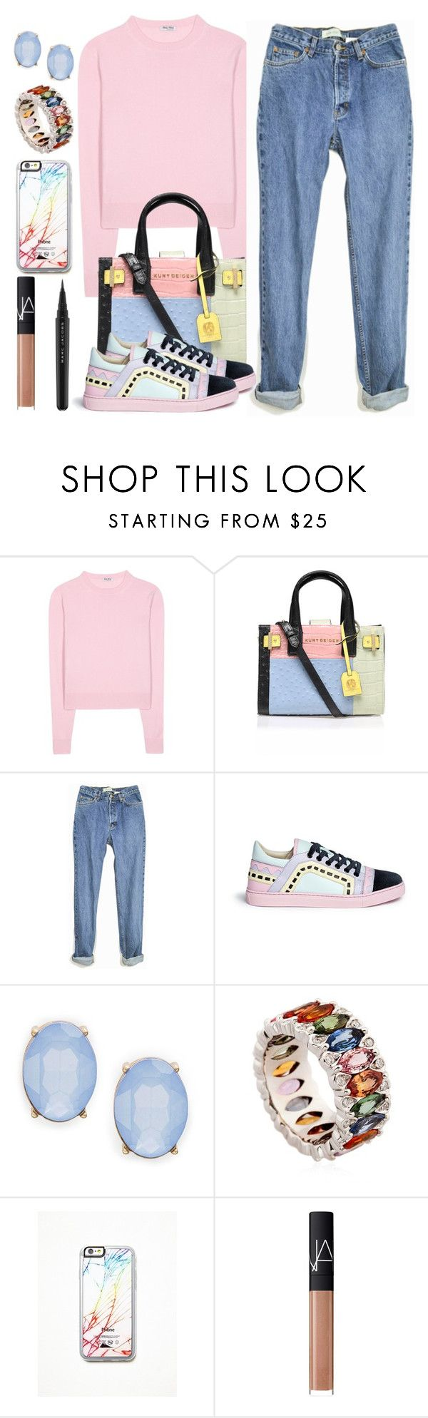 """""""Untitled #1515"""" by anarita11 ❤ liked on Polyvore featuring Miu Miu, Kurt Geiger, Sophia Webster, Cara, Niquesa, Free People, NARS Cosmetics, Marc Jacobs, women's clothing and women"""