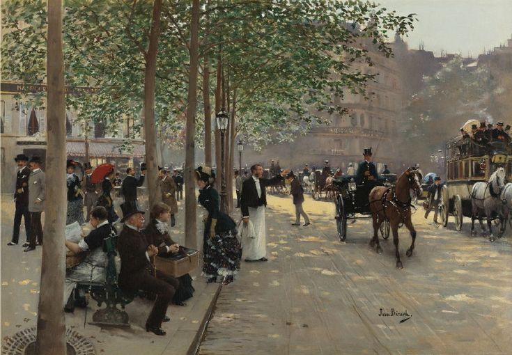 """Jean Béraud: """"Avenue Parisienne"""", oil on canvas, 39.7 x 56.5 cm, Private collection."""