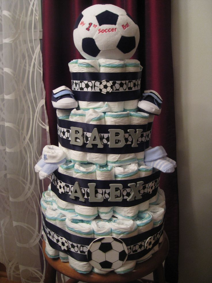 Soccer themed diaper cake