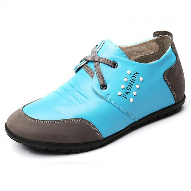 Korean Calf Leather Elevator Casual Shoes 2.4inch / 6cm Blue Taller Driving Shoes