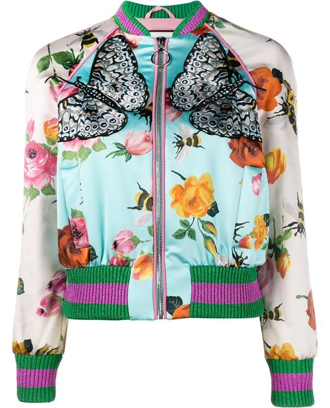 Floral Print Embroidered Silk Bomber Jacket
