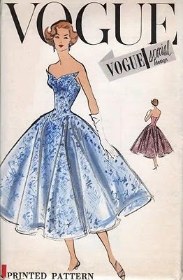 Vintage Vogue sewing pattern from 1950s to frame.