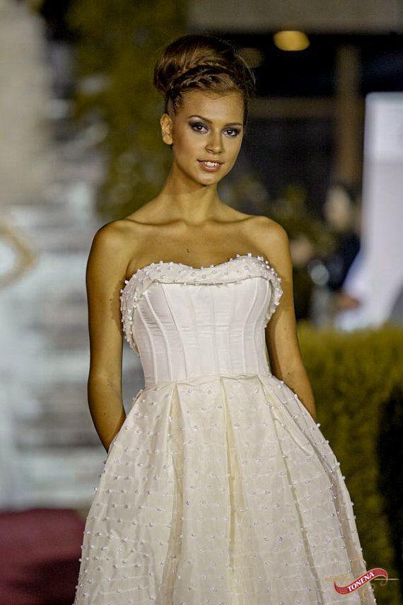Edwardian boda vestido de tafetán, marfil del vestido de novia con corsé hecho a mano, alternativa francesa de boda estilo vintage