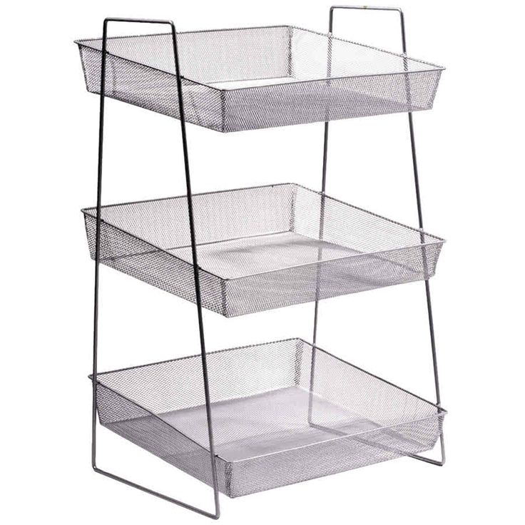 """Clipper Mill by GET WB1-3TIER POP 15 3/4"""" x 13 1/2"""" Silver Chrome Plated Iron Mesh 3-Tier Wire Basket Stand"""