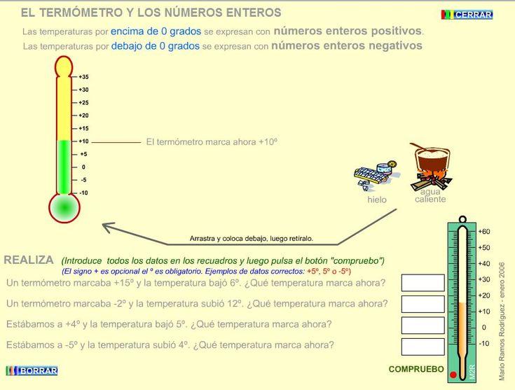 EL TERMÓMETRO Y LOS NÚMEROS ENTEROS