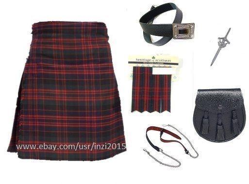 Scottish Wedding Highland Macdonald Tartan Kilt Outfit 7 Pcs Sporran Belt #RoyalSwag #Kilt