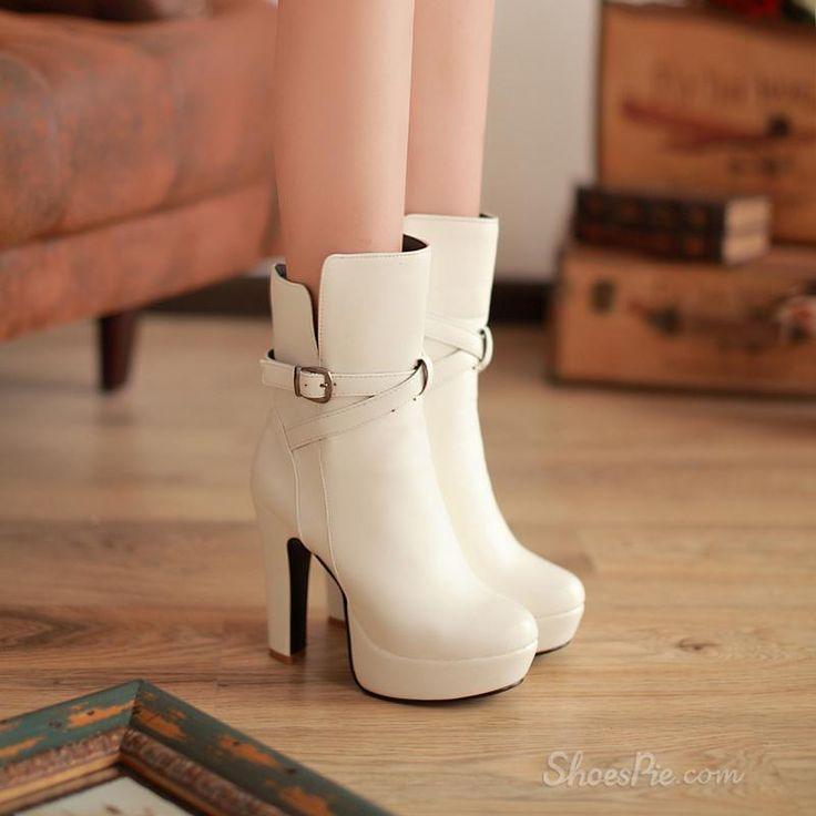 Affordable White Closed Toe Belt Chunky Heel Ankle Boots