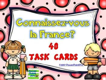 This package contains two sets of 40 task cards (color and black&white version) for students to test their general knowledge about France.You can also prevent early finishers from distracting other students while keeping them engaged and productive.You will find questions with multiple choice concerning French- geography- history- government- politics- education- literature- sport- food- ParisAnswers are included.The file also includes a sheet for students to record their answers.If you h...