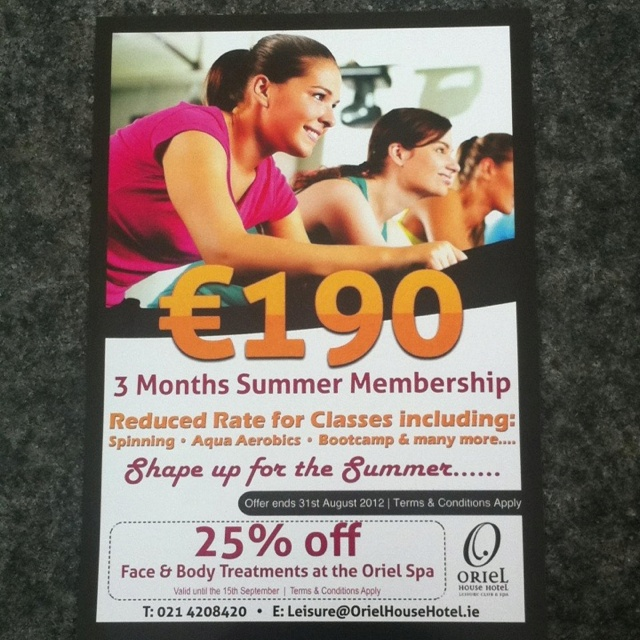 €190 for 3 month membership of oriel leisure club