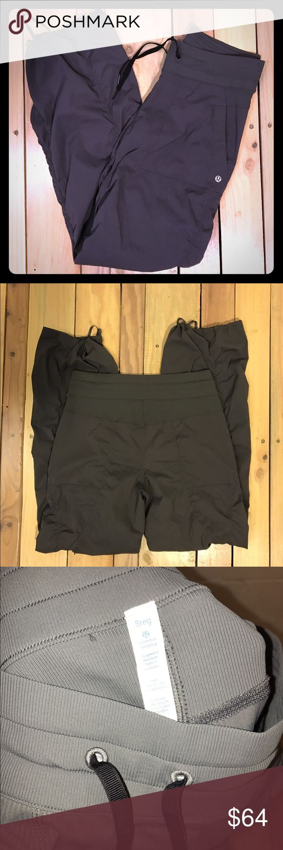 Lululemon workout pants sz 8 slate grey Great condition.  No stains, tears, or holes  •I bundle & discount bundles •If an item is higher than you want to pay, message an offer or favorite & wait for price to drop weekly.  •My mannequin is Xsm so sometimes items appear loose or I clip back for actual look/fit •Usually ships within 24 hrs and latest 48 hours unless otherwise noted.  •Some of my items are various sizes because I sell for sister as well. #lululemon #dancestudio #warmups…