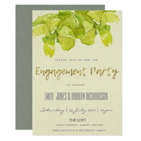 VIBRANT GREEN WATERCOLOR SUCCULENT  ENGAGEMENT CARD - tap, personalize, buy right now!