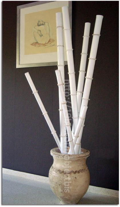 Cañas bambú hechas con cartones.
