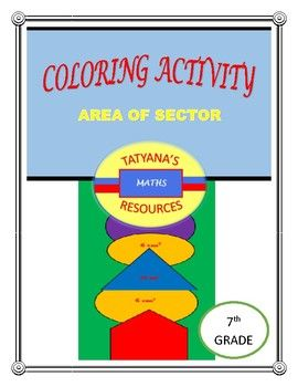 Students color while working out 5 questions on calculating area of sector.  This product includes: Worksheet - 5 questions on area of sector Colouring Activity Key/SOLUTION  This is a fun activity that can be used peer to peer, cooperative groups or individually.