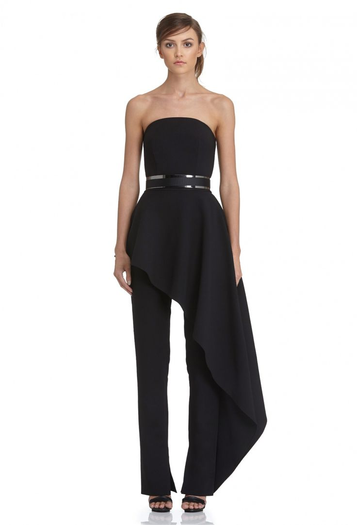 Adelia Strapless Jumpsuit with Fitted Waist and Feature Peplum · Black · AQ/AQ