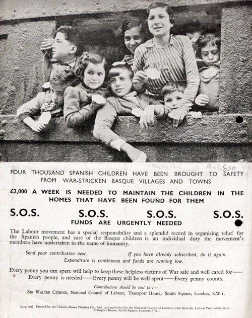 Niños republicanos vascos evacuados a Gran Bretaña durante la Guerra Civil Española.