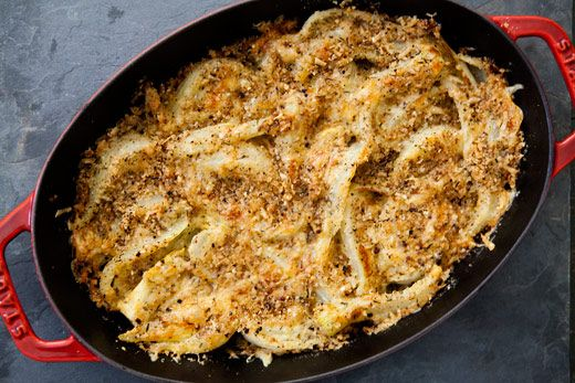 Fennel Gratin Recipe Side Dishes with fennel bulb, salt, olive oil, grated parmesan cheese, bread crumbs, fresh thyme, shredded mozzarella cheese, fronds
