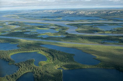 aerial view of the Mackenzie River & Delta near Inuvik. N.W.T. - Canada.