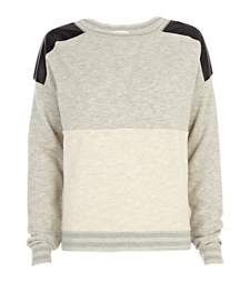 Grey leather-look shoulder dolman top £28.00