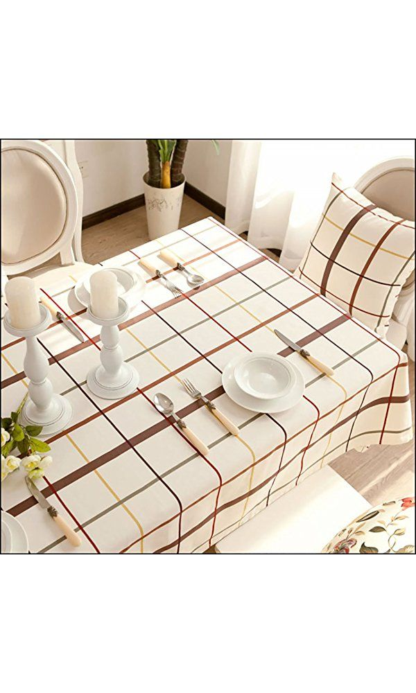 Autohome Cotton Canvas Tablecloths for House Dining Tea Table Hotel- Square 55x55 Inch White Coffee Plaid Best Price