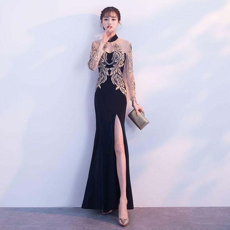 chinesischen stil schwarz gold durchsichtige abendkleider 2018