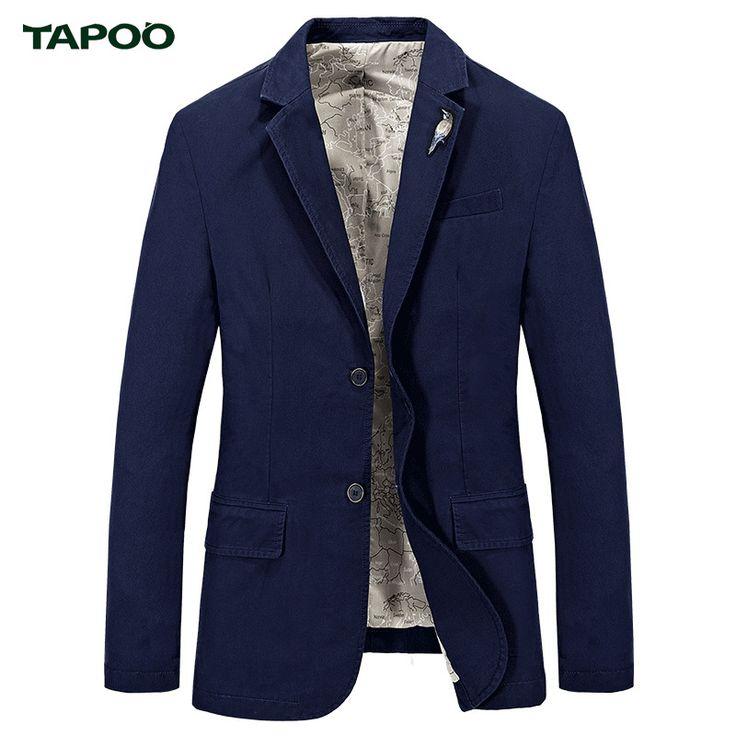 TAPOO Suit Jacket Blazer Men Cotton Blazers Styles Slim Fit Masculino Coat Outerwear Business Wedding Party Suits Brand TP711201