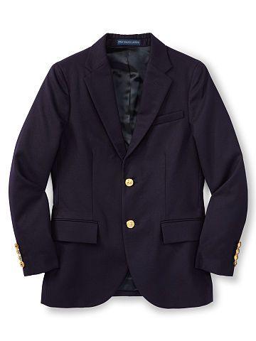 Boys 6 - 14 years Wool Brass-Button Sport Coat - Boys 6 - 14 years Blazers