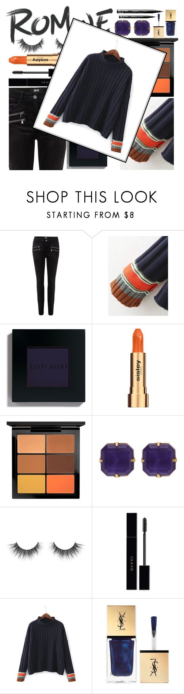 """ROMWE"" by hopefortomorrow ❤ liked on Polyvore featuring Paige Denim, Bobbi Brown Cosmetics, Sisley, MAC Cosmetics, Loren Hope, Gucci, Yves Saint Laurent and NYX"