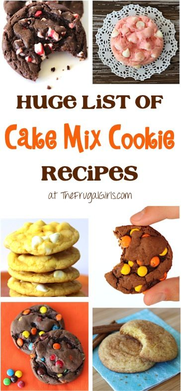 Cake Mix Cookies Recipes!  You'll love this HUGE list of every cookie flavor combination imaginable - so EASY and most are 5 Ingredients or Less! | TheFrugalGirls.com