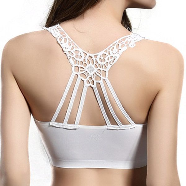 Sexy Ice Silk Breathable Hollow Out Back Soft Backless Yoga Camisole Bras