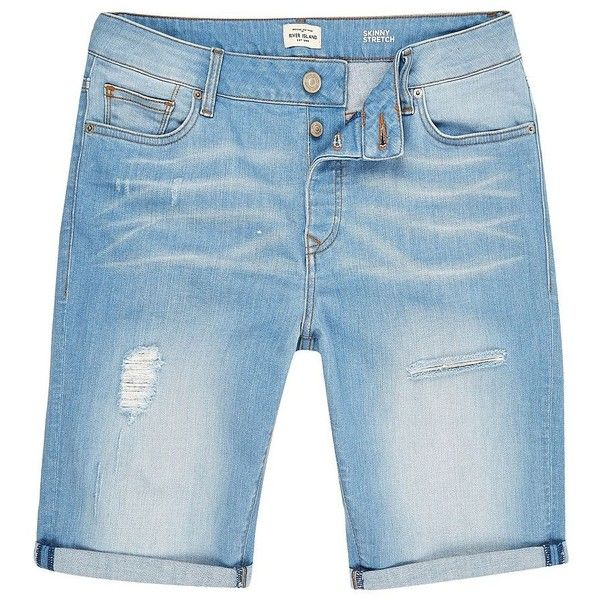 River Island Light blue wash skinny fit denim shorts ($15) ❤ liked on Polyvore featuring men's fashion, men's clothing, men's shorts, sale, mens ripped shorts, mens light blue shorts, mens denim shorts, tall mens shorts and mens distressed denim shorts
