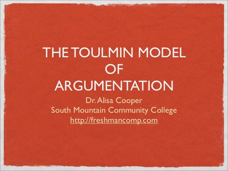 augmentative analysis against the toulmin model Toulmin argumentation can be diagrammed as a conclusion established, more or less, on the basis of a fact supported by a warrant (with backing), and a possible rebuttal arguing on the toulmin model new essays in argument analysis and evaluation.