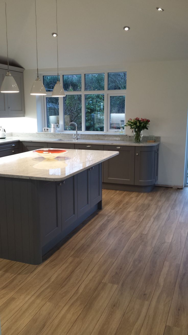 My kitchen units painted in Farrow and Ball Moles breath on base units and Purbeck stone at the top. Walls painted Wimborne white. Floor by Polyfloor Skirting to go on yet