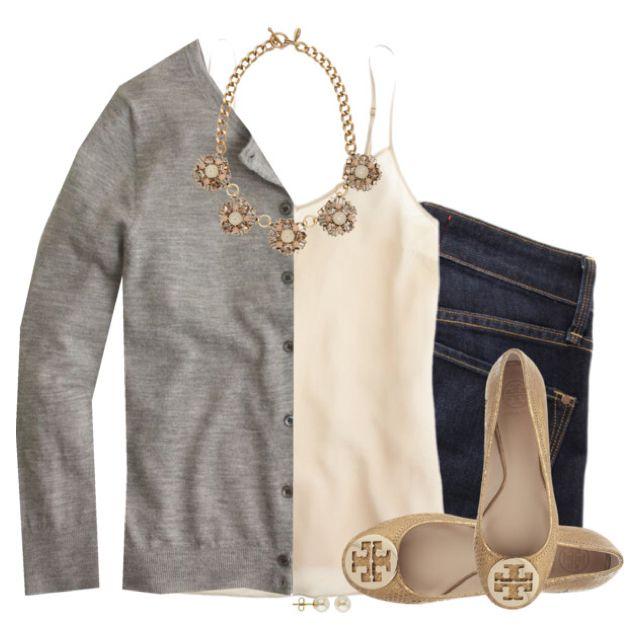 Gray cardigan, cream cami & statement necklace