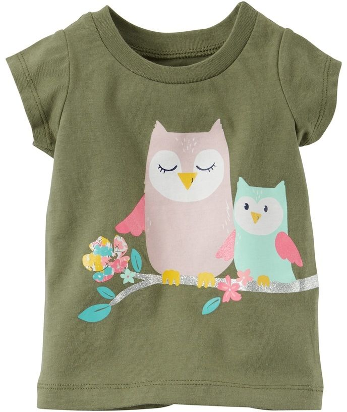 Carter's Baby Girl Glittery Owl Graphic Short-Sleeve Tee