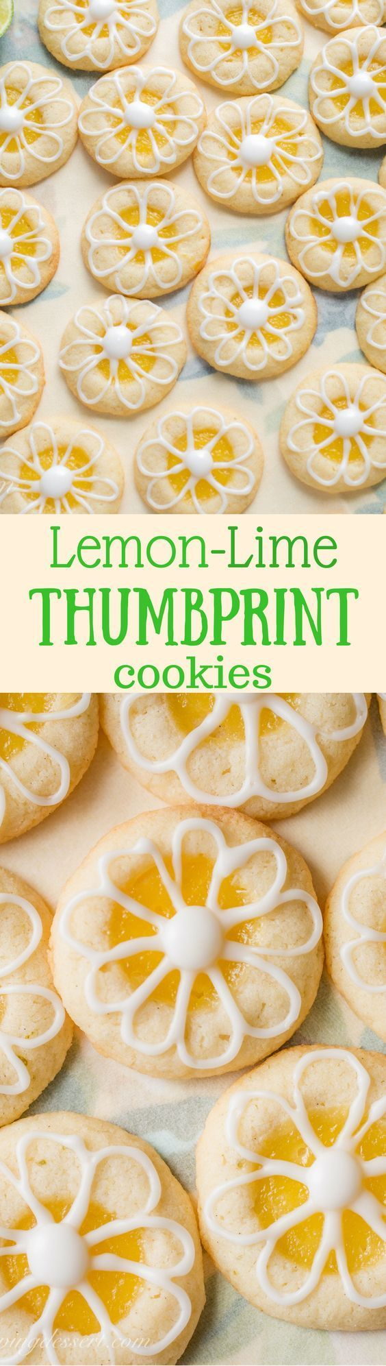 Lemon-Lime Shortbread Thumbprint Cookies filled with homemade Lemon Curd and topped with a simple Lime Icing | http://www.savingdessert.com