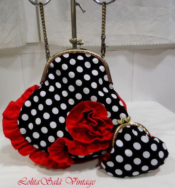 """Vintage handbag Handmade bag Bolso-cartera """"Brisas de Abril"""", de inspiración flamenca. www.lolitasala.es"""