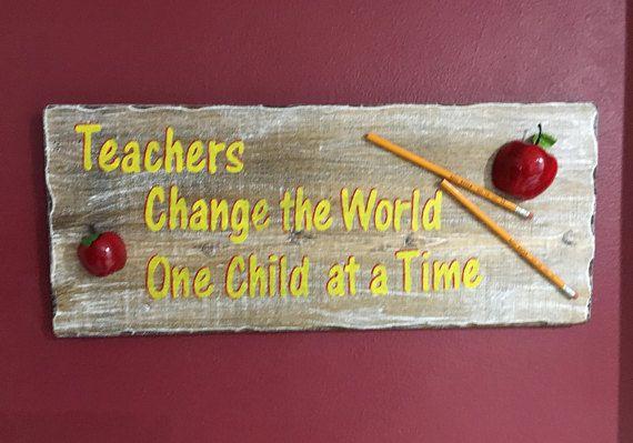 Teacher Inspirational Message Wall Hang Art Wood Sign Teachers