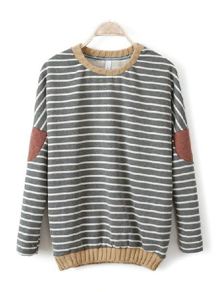 Grey Batwing Long Sleeve Striped Patch Sweatshirt