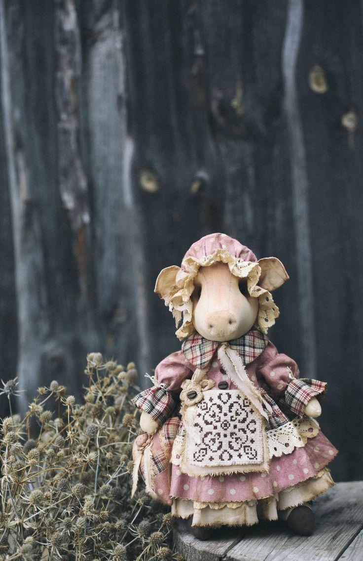 Textile Doll 'Piggy' | Текстильная кукла «Хрюня» — Купить, заказать, кукла, игрушка, интерьер, декор, поросенок, хрюшка, ткань, ручная работа