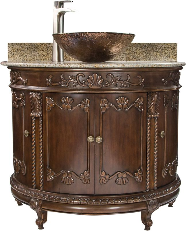 Antique Hand Carved Espresso Finish Semi Circle Vanity With Beige Marble Top 16 Vessel Sink Option Beige Marble Marble Bathroom Accessories Marble Decor