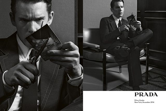 Ethan Hawke and Ansel Elgort front Prada's SS15 menswear campaign