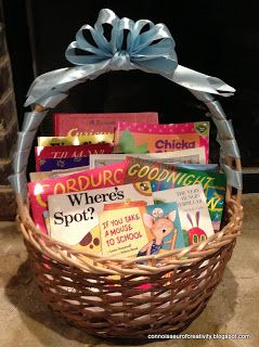 Baby Shower Book Basket Gift: A basket full of classic children's books.. Baby Shower Baskets #Baby Shower #Baby shower Basket #Basket #wicker Basket #wedding #Gift Basket