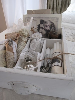 Paint an old drawer and fill it with nicknacks.