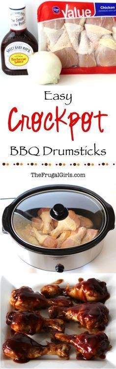 Easy Crockpot BBQ Chicken Drumsticks Recipe! ~ from http://TheFrugalGirls.com ~ this Slow Cooker barbecue dish is perfect for a weeknight dinner, Sunday lunch, or even Game Day!