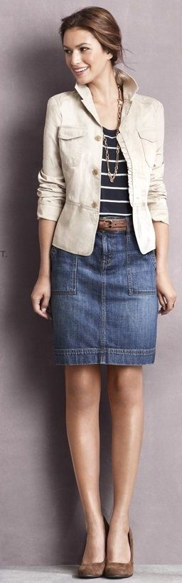 Khaki Jacket with Denim Skirt Outfit - needs a little longer skirt for me, but love the outfit.