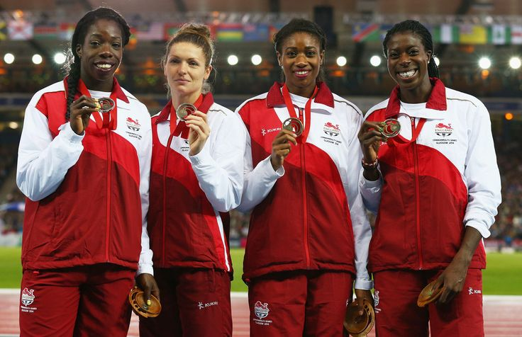 (L-R) Bronze medalists Anyika Onuora, Kelly Massey, Shana Cox and Christine Ohuruogu of England