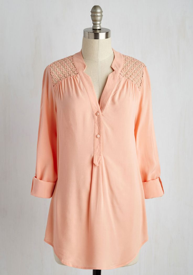 Lakeside Lodgings Tunic in Petal. Cabin comfort looks sweeter than ever when you cuten up in this tantalizing pink tunic! #orange #modcloth