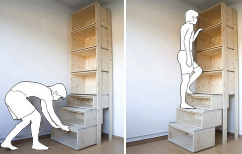 Library ideas - great idea to reach those top shelves!