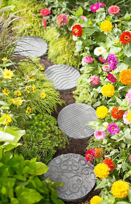 Cast an entire walkway of these stepping-stones using a variety of materials for the decorative texture of your choice. Mom will treasure personalized stones.