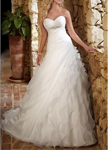Captivating  Organza Satin & Satin A-line Strapless Sweetheart Empire Waist Ruching Beaded Wedding Dress With Pearls